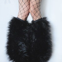 MADE TO ORDER BLacK Fluffy Leg Warmers Fluffies (other sizes/colors available) monster fur furry bootcovers fuzzy boots gogo rave fluffies