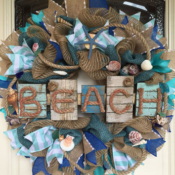 Nautical Wreath,Beach Decor,Beach Wreath, Nautical Decor,Coastal Wreath,Shell Wreath, Beach Wedding,Coastal Wedding,Nautical Wedding,Beach