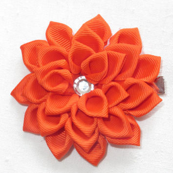 "Orange Hair Clip 3"". Hair Flower. Satin Hair Flower. Ribbon Flower.  Orange Clip. Kanzashi Flower.Hair clip< child<adult."