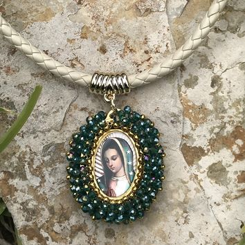 Our Lady of Guadalupe Beaded Pendant Necklace