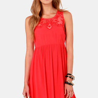 Ladakh Chantilly Lace Red Dress