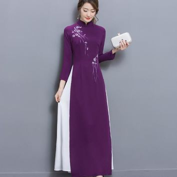 Vietnam Womens Dress New 2017 Chinese traditional dress Vietnam ao dai Collar long sleeve dress