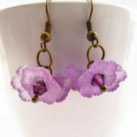Purple earrings, flower earrings, Swarovski elements chrystals, 3 lucite flower earrings,  UK shop