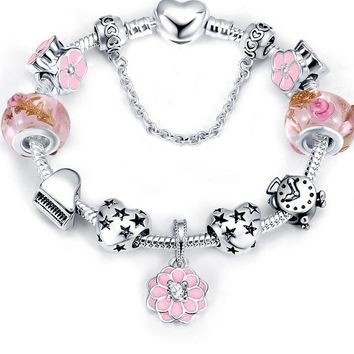 LZESHINE Christmas Flower Charms Bracelets & Bangles Antique Silver Plate Snake Chain Glass Beads Bracelets fit European Jewelry