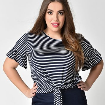 Plus Size Navy Blue & White Striped Bell Sleeve Tie Top