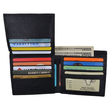 Men's Black Hipster Genuine Leather Multi-Card ID Bifold Euro Wallet