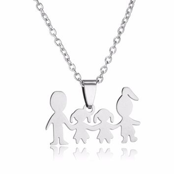 Mom Dad Love Two Daughters Stainless Steel Pendant Mothers Fathers Day Gifts Necklace For Women Girls Children Family Jewelry