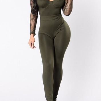 Army Green Patchwork Lace Cut Out Hollow-out See-through High Waisted Long Jumpsuit
