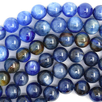 "7mm blue kyanite round beads 16"" strand S2"