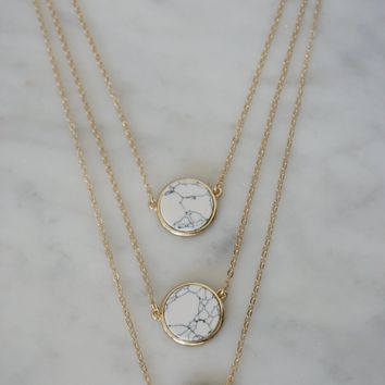 Three Layer White Circle Marble Necklace