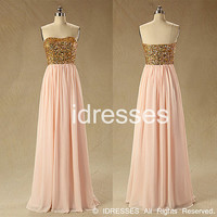 baby pink Claming squins bodice floor-length  chiffon prom dress