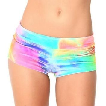 LMFONS Women Multicolor Print Tight Shorts Beach Shorts