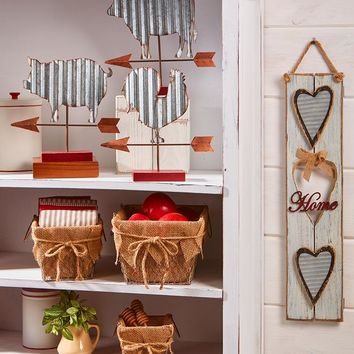 Galvanized Country Decor Pieces Weather Vane Home Heart Sign Burlap Baskets