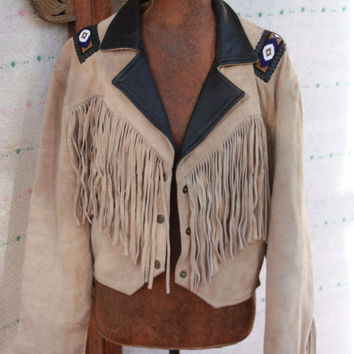 Incredible 80s Beaded Southwest Fringed Suede Womans Jacket L/XL