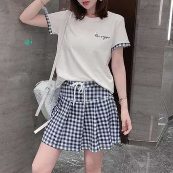 Woman's Leisure  Fashion Letter Printing  Spell Color Loose Short  Sleeve Plaid Skirt Two-Piece Set Casual Wear