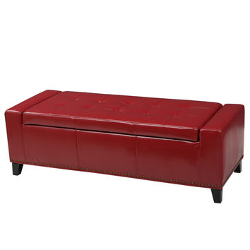 Robin Studded Red Leather Storage Ottoman Bench