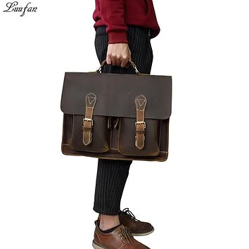 Crazy Horse Genuine Leather Men Briefcase Bags Cowhide Messenger Laptop Business Bag Big Work Handbag Shoulder Bag Portfolio