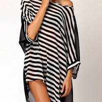 Black Striped Sleeve Mini Dress