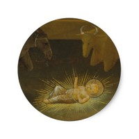 Christmas Birth of Christ Child with Animals Classic Round Sticker