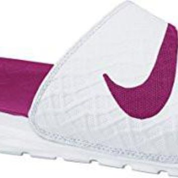 Nike Women's Benassi Solarsoft Slide Sandal, White/Fire Berry, 8 M US