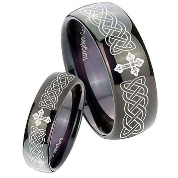His Her Classic Dome Celtic Cross Shiny Black Tungsten Wedding Rings Set