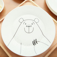 cute bear ceramic dish plate mug