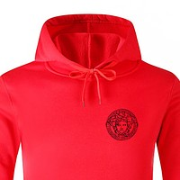 Versace Fashion New Human Head Print Women Men Hooded Long Sleeve Top Sweater Red
