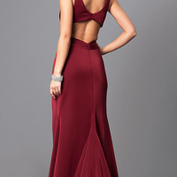 V-Neck Prom Dress with Open Back by Faviana