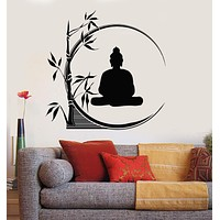 Vinyl Wall Decal Buddha Meditation Circle Yoga Reed Buddhism Stickers Unique Gift (ig3207)