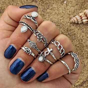 Vintage Bohemian moon flower elephant joint women's rings set