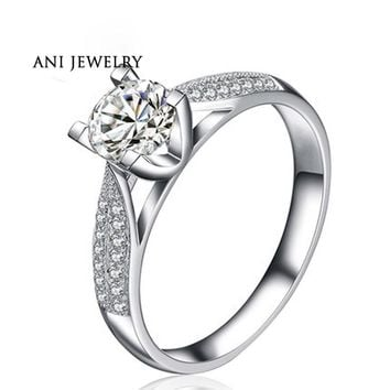 ANI 18K White Gold (AU750) Wedding Rings 0.7 CT Certified I-J/SI Round Cut Diamond Aneis Feminino Women Valentines Jewelry Ring