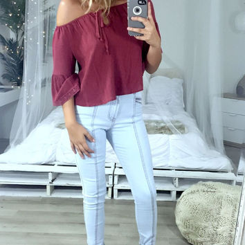 Notting Hill Wine Off The Shoulder Top