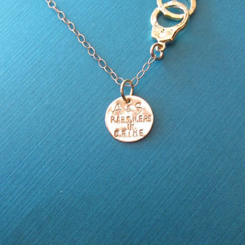 Friendship Necklace, Partners in Crime, Handcuff Necklace, Best Friends, BFF, Friends Necklace, Friendship Jewelry, Handcuff Jewelry
