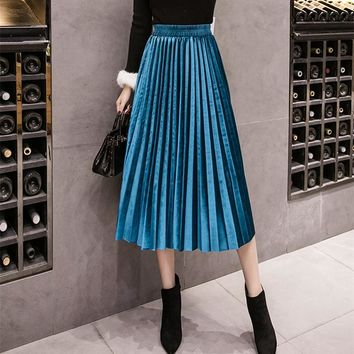 Winter Velvet Skirt High Waisted Skinny Large Swing Long Pleated Skirts Metallic 18 Colors Plus Size 3XL Midi Saia