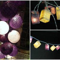 SALE 2 set of purple tone of cotton ball and cubic paper lantern string light bedroom party hallway night light decor bed light gift set