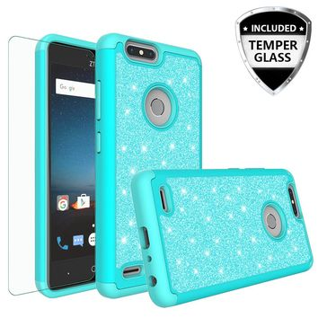 ZTE Sequoia Case, Blade Z Max, ZTE Z982 Glitter Bling Heavy Duty Shock Proof Hybrid Case with [HD Screen Protector] Dual Layer Protective Phone Case Cover for ZTE Sequoia, ZTE Blade Z Max, ZTE Z982 W/Temper Glass - Teal