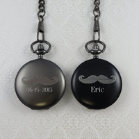 Mustache Pocket Watch - Personalized - Groomsmen Gifts - Best Man - Gifts for Men