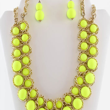 Lemon-Yellow Beads Statement Necklace & Earrings Set