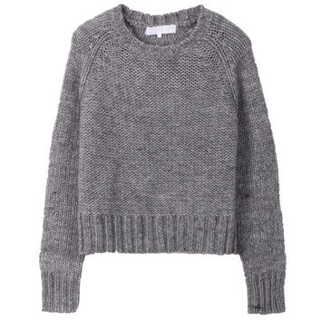 Rittenhouse - RAGLAN CROPPED KNIT SWEATER - GREY