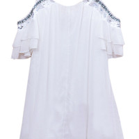 White Rhinestone Embellished Cut-Out Chiffon Dress