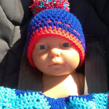 newborn crochet hat, crochet bobble hat, baby boys pompom hat, red turquoise blue hat, new baby/ baby shower gift, ready to post hat