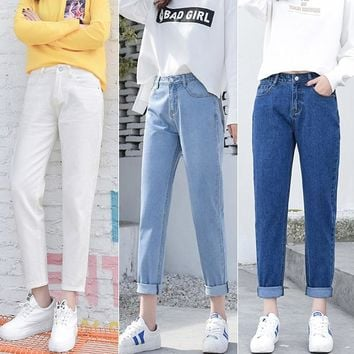 2018 Winter Ripped Jeans Woman High Waist Boyfriend Jeans For Women Plus Size Blue Black White Denim Mom Jeans Pants Trousers