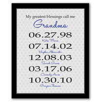 My Greatest Blessings Call Me Grandma, Gift For Grandma, Gift From Grandkids, Birth Dates, Dates To Remember, Birthday Gift, Grandma Art