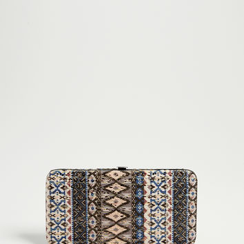 patterned fabric wallet with sequins