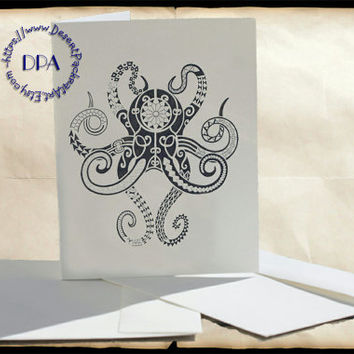 Multi Blue Octopus & Black Abstract Octopus Art - - 10 Cards and Envelopes, Printable Art on Matte Note Cards,Everyday and Special Cards