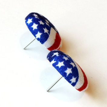 Artsy American Flag Fabric Button Earrings Womens Patriotic Fabric Earrings Girls Fashion Fabric Covered Earrings Stars and Stripes Earrings