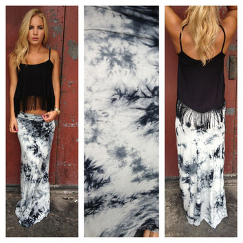 Black & White Tie Dye Maxi Skirt