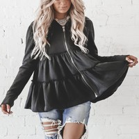 Caught In The Moment Black Tiered Zip Up Jacket
