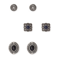 FOREVER 21 Etched Medallion Stud Set Burn.S/Black One