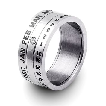 Number and Month Letter Rotatable rings for men anillos Stainless Steel Punk Party Ring Jewelry